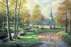 Thomas Kinkade - The Aspen Chapel (2001)