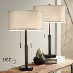 Buy Bernie Industrial Table Lamps Set of 2 with Hotel Style USB Charging Port Rich Bronze Drum Shade for Living Room Family Bedroom - Franklin Iron Works Table Lamps For Bedroom, Table Lamp Sets, Lamps For Living Room, Night Table Lamps, Dining Rooms, Dining Table, Chandeliers, Industrial Home Design, Modern Industrial