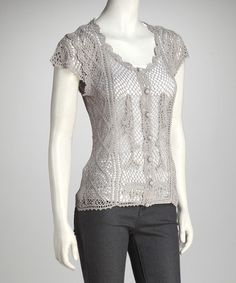 Take a look at this Light Gray Crocheted Top by Papillon Imports on #zulily today!