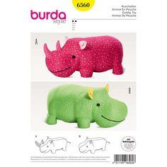 Burda Style Pattern B6560 Stuffed Hippo or Rhino