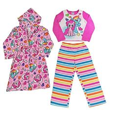 Girls My Little Pony Plush Bathrobe & Fleece Pajama Set - - Girls' Clothing, Sleepwear & Robes, Robes # # My Little Pony Bedding, My Little Pony Plush, Bath Girls, Fleece Pajamas, Sleepwear Sets, Bnf, Floral Kimono, New Kids, Pajama Set