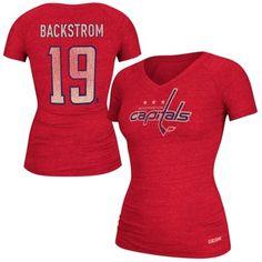 CCM Nicklas Backstrom Washington Capitals Ladies Name   Number V-Neck  T-Shirt - 4e304f9b4