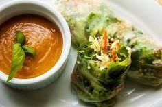 Quinoa green springrolls with spicy peanut satay sauce
