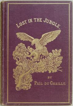 Lost in the Jungle Narrated for Young People by Paul Du Chaillu New York: Harper & Brothers [1872] [gold embossed title and image of an eagle, monkey and tree on purple background]