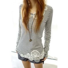 Lace Splicing Stripe Long Sleeves Casual Style Cotton Blend Women's T-ShirtT-Shirts | RoseGal.com