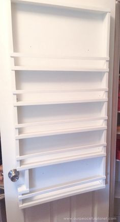 Build your own affordable pantry door organizer with some wood and a few basic tools. It's easier than you think and you'll love the extra storage! Pantry Shelving, Door Shelves, Pantry Storage, Door Storage, Extra Storage, Pantry Door Organizer, Over The Door Organizer, Wine Theme Kitchen, Kitchen Themes