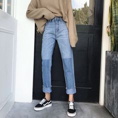 Vintage Womens Korean Color Block Denim High Waist Straight Pants Trousers - Women Straight Jeans - Ideas of Women Straight Jeans Korean Outfits, Mode Outfits, Casual Outfits, Look Fashion, 90s Fashion, Fashion Outfits, Fashion Design, Street Fashion, Fashion Ideas
