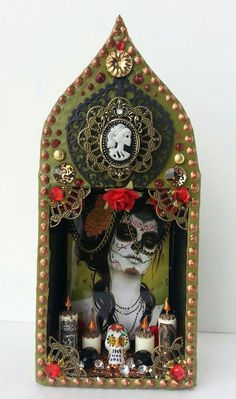 Hey, I found this really awesome Etsy listing at http://www.etsy.com/listing/165496629/green-dia-de-los-muerto-beauty-shrine