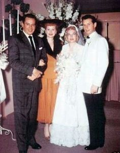 LUCILLE BALL & DESI ARNAZ AT HER BROTHER FRED BALL & ZO BALL'S WEDDING.