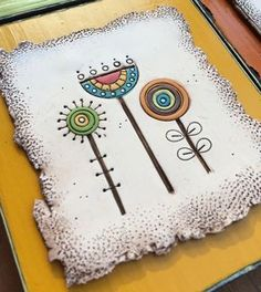 IMG_1330 | by Bull's Eye Studio Clay Tiles, Ceramic Clay, Ceramic Painting, Polymer Clay Projects, Polymer Clay Art, Polymer Clay Jewelry, Slab Pottery, Ceramic Pottery, Ceramic Flowers