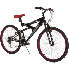 Dynacraft Men's 21 Speed Equator Bike, Size, Black/Red: Dual Suspension Frame, equipped with 21 speed Shimano Revo Shifters and Index Derailleur, linear pull brakes and deluxe finish. Mens Mountain Bike, Mountain Bike Shoes, Mountain Biking, Mtb Shoes, Full Suspension Mountain Bike, Road Bike Women, Bicycle Maintenance, Cool Bike Accessories, Cycling Equipment
