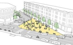 Interim Public Plaza transforming an underutilized area of roadway into a public space, as illustrated in the Urban Street Design Guide. Urban Architecture, Architecture Portfolio, Architecture Diagrams, Street Design, Urbane Analyse, What Is Urban, Masterplan, Plaza Design, Urban Design Concept