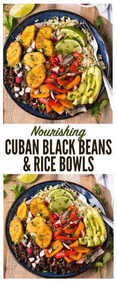 Nourishing Cuban Black Beans and Rice Bowls with baked plantains (tostones), roasted vegetables, and avocado. Packed with authentic Cuban flavors and ingredients. A healthy, filling, all-in-one recipe that's vegan and gluten free! #cuban #blackbeans #vegan #glutenfree via @wellplated