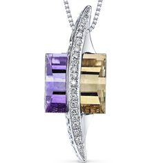 14 Kt White Gold 5.5 cts Ametrine and Diamond Pendant from Peora Jewelry, L.A. California