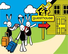 Guest House's Rabbit Character  24 Guest House in Seoul Korea http://www.spaceinno.co.kr/  Design by Brandhotel www.brandhotel.co.kr
