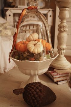lovely Autumn centerpiece ...fruit/candy bowl filled with moss, mini pumpkins, and other fall items, and topped with a glass top...pretty!