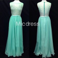 MicDress | Green See Through Beaded Long Chiffon Prom Dresses Summer Wedding Bridesmaid Dress Evening Gowns | Online Store Powered by Storenvy