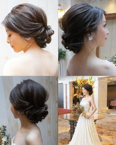 Pin by Halle Klapprich on hair in 2019 Asian Wedding Hair, Low Bun Wedding Hair, Bridal Hair Updo, Wedding Hairstyles With Veil, Wedding Hair Pins, Wedding Hair Accessories, Bride Hairstyles, Hairstyles With Bangs, Brunette Updo