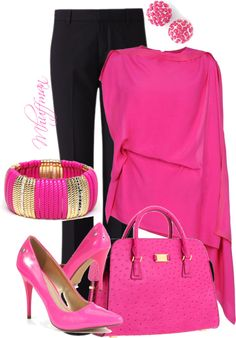 """Think Pink"" by mhuffman1282 ❤ liked on Polyvore"
