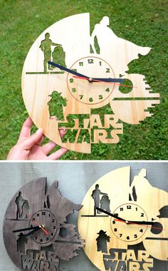Star Wars Wall Wood Clock Home decor Housewarming gift Darth Vader Star Wars Gift for Boyfriend Husband Brother Living Room Decor Christmas by EnjoyTheWood on Etsy https://www.etsy.com/ca/listing/469137811/star-wars-wall-wood-clock-home-decor