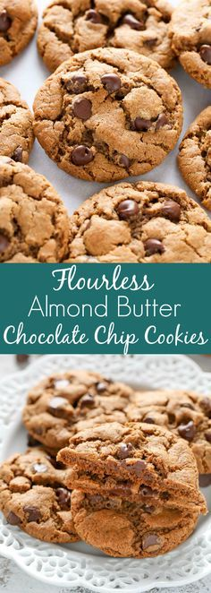 These easy Flourless Almond Butter Chocolate Chip Cookies have no butter or flour! These cookies are also sweetened with coconut sugar and are perfect for a healthier dessert. 3/24/2018 1/3 coconut and 1/3 Brown sugar with clear scoop, bake 10 minutes even though smaller