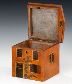 A single compartment 19th century tea caddy in the form of a country house. - Height 15,88 cms, Width 12,7 cms, Depth 12,7 cms // Price GBP 4800 //  - Maria Elena Garcia -  ► www.pinterest.com/megardel/ ◀︎