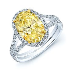 Platinum and 18k Yellow Gold 3 1/10ct TDW GIA-certified Yellow Oval Diamond Ring (H-I, SI1-SI2) (Size