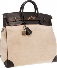 ad3c4131e6 Hermes 50cm Marron Fonce Calf Box Leather   Toile HAC Travel Birkin Bag  with Gold Hardware