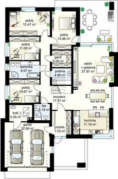 Bagatela 6 G2 projekt - Parter 149.67 m² + garaż 32.06 m² + kotlownia 5.55 m² House Plans Mansion, Family House Plans, Luxury House Plans, House Floor Plans, House Entrance, Architecture Plan, My Dream Home, Planer, Building A House