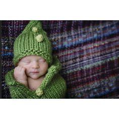 Green Pea Pod #Knit #Pattern #Baby #Cocoon Set + #Crochet_Bobble #Tutorial