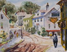 """""""Village Corner, Downtown Rockport at Main Street and Front Beach Road,"""" Henry Gasser, watercolor, 8 x 10"""", private collection."""