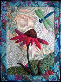 Wendy Butler Berns Artwork - dragonfly and coneflower applique quilt Embroidery Designs, Quilting Designs, Quilting Projects, Quilting Ideas, Creeper Minecraft, Small Quilts, Mini Quilts, Machine Applique, Machine Quilting