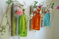 Autumn Bliss Collection of  Colored Bottles each mounted on Recycled wood for unique rustic wall decor bedroom decor kitchen decor on Etsy, $36.00