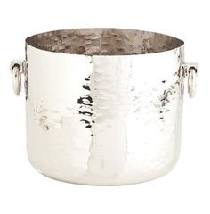 Grace Small Metal Polished Nickel Modern Metal Wine Cooler | Kathy Kuo Home