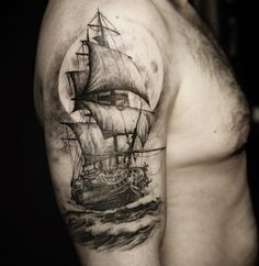 Sailing ship & moon by Borsch Evgeniy.  http://tattooideas247.com/sailing-ship-moon/