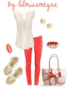 Springtime Coral by lilmissmegan on Polyvore