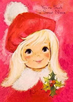 VINTAGE 1970's CHRISTMAS BLOND SWEET NIECE in BRIGHT PINK CARD w ENVELOPE BUZZA