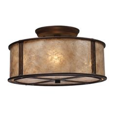 Westmore Lighting 13-in W Aged Bronze Tea-Stained Glass Semi-Flush Mount Ceiling Light