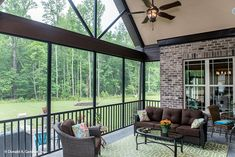 This screened porch is spacious for entertaining. The Spotswood - Plan 1310. http://www.dongardner.com/house-plan/1310/the-spotswood. #ScreenedPorch #OutdoorLiving #HomePlan