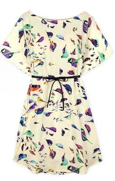 Beige Batwing Short Sleeve Birds Print Shift Dress