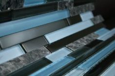 Random Brick Pattern Glass Tile & Granite Tile; Color: Black, Gray & Blue Glass with Blue Pearl Granite - Amazon.com
