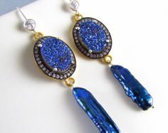Cobalt Blue Druzy and Pearl Earrings