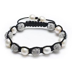 Bling Jewelry Shamballa Inspired Bracelet White Freshwater Pearl Clear Crystal
