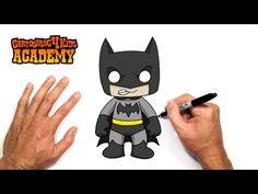 How to Draw Batman- Art for Beginners Batman Cartoon Drawing, Batman Drawing Easy, Penguin Drawing, Easy Cartoon Drawings, Easy Drawings, How To Draw Batman, Doodle Art For Beginners, Drawing Tutorials For Kids, Drawing Ideas
