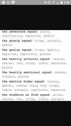 SO MUCH VIRGO (except for heavily emotional squad tho)