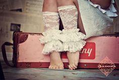 Girls lace ruffle leg warmers in Ivory