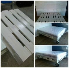 The idea was to make comfortable and durable pallet bed with beautiful bolster made of old pallets wood. Everything was covered with white paint. We think that the owner feel in this bedroom like in heaven.
