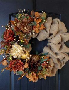 Fall Burlap Wreath Autumn Wreath Burlap such a beautiful wreath to make Thanksgiving Wreaths, Autumn Wreaths, Thanksgiving Decorations, Holiday Wreaths, Spring Wreaths, Summer Wreath, Fall Decorations, Burlap Crafts, Wreath Crafts