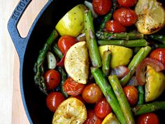 Skillet Asparagus and Tomato Medley | 25 Meat-Free Clean Eating Recipes That Are Actually Delicious