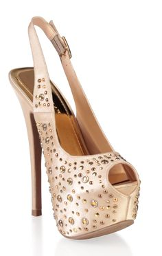 satin sling back pump with stones